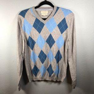Banana Republic cotton cashmere argyle sweater M